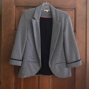 Matty M open front Black & White striped blazer